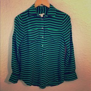 J.CREW Blue & Green Striped Pullover Blouse Sz 0